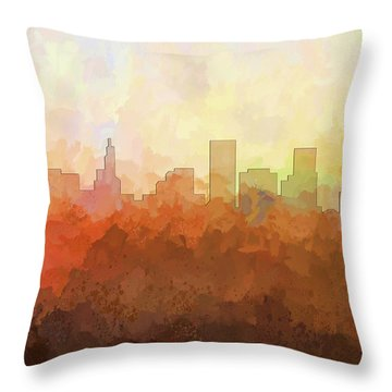 Throw Pillow featuring the digital art St Paul Minnesota Skyline by Marlene Watson