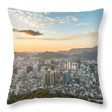 Sunset Over Seoul Throw Pillow