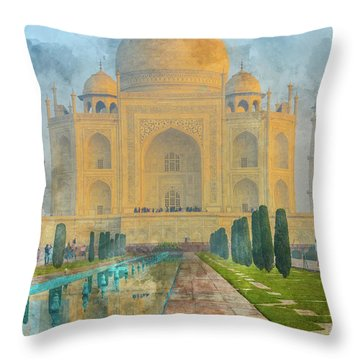 Taj Mahal In Agra India Throw Pillow