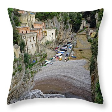 This Is A View Of Furore A Small Village Located On The Amalfi Coast In Italy  Throw Pillow