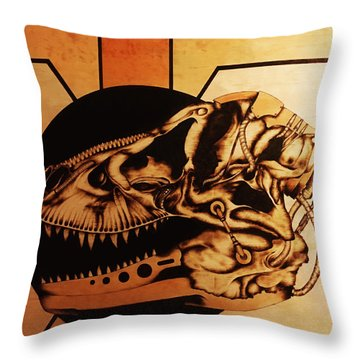 Throw Pillow featuring the pyrography Untitled by Jeff DOttavio