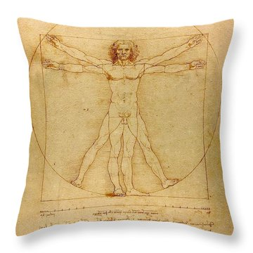 Vitruvian Man Throw Pillow