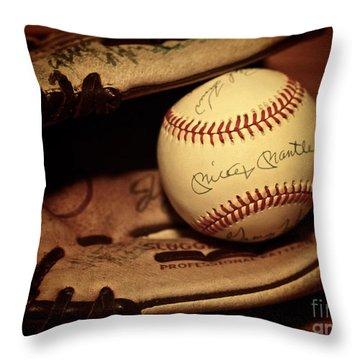 50 Home Run Baseball Throw Pillow by Mark Miller