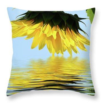 Nice Sunflower Throw Pillow by Elvira Ladocki