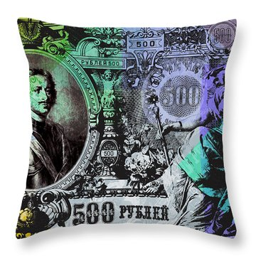 500 Ruble Banknote Pop Art Collage - #2 Throw Pillow