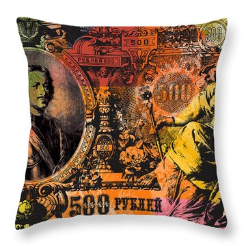 500 Ruble Banknote Pop Art Collage - #3 Throw Pillow