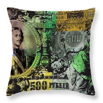 500 Ruble Banknote Pop Art Collage - #4 Throw Pillow