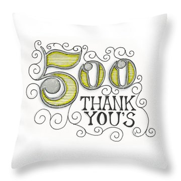 Throw Pillow featuring the drawing 500 Thank Yous by Cindy Garber Iverson