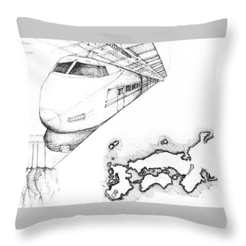 5.1.japan-map-of-country-with-bullet-train Throw Pillow