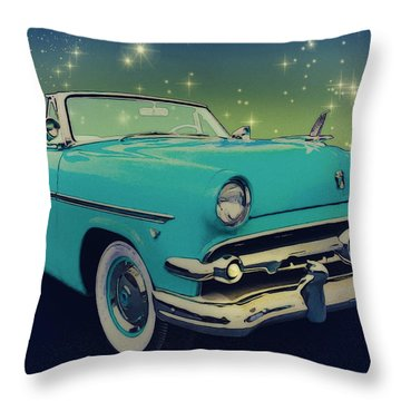 54 Ford Sunliner Date Night Saturday Night Throw Pillow