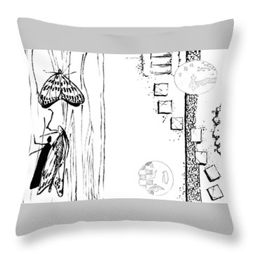 5.4.japan-1-butterfly-and-walkway Throw Pillow