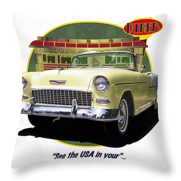 Throw Pillow featuring the drawing 55 Chevy by Kenneth De Tore