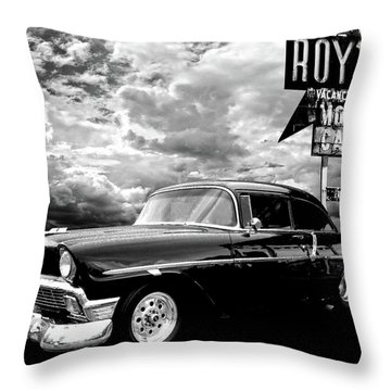 56 Chevy Belair In Black And White Throw Pillow
