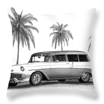 56 Chevy Wagon Throw Pillow by Peter Piatt