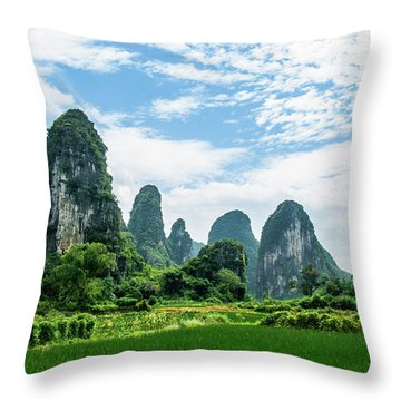 Throw Pillow featuring the photograph Karst Mountains And  Rural Scenery by Carl Ning