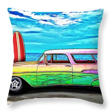 57 Chevy Nomad Wagon Best Part Of Waking Up Throw Pillow