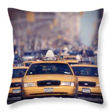 Throw Pillow featuring the photograph 5th Avenue Cabs by Ray Devlin