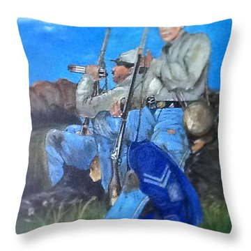 5th Georgia  Infantry Soldiers C.s.a. Throw Pillow by Catherine Swerediuk