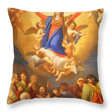 Throw Pillow featuring the painting Angels by Munir Alawi