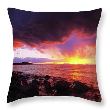 Throw Pillow featuring the photograph Antelope Island Sunset by Norman Hall