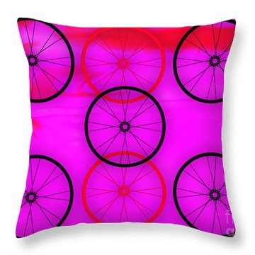 Bicycle Wheel Collection Throw Pillow