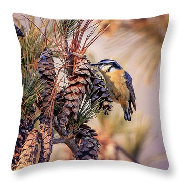 Throw Pillow featuring the photograph Black-capped Chickadee by Peter Lakomy