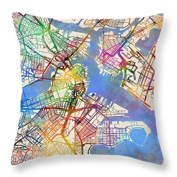 Boston Massachusetts Street Map Throw Pillow by Michael Tompsett