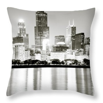 Chicago Skyline At Night Throw Pillow by Paul Velgos