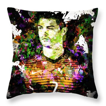 Cristiano Ronaldo Throw Pillow by Svelby Art
