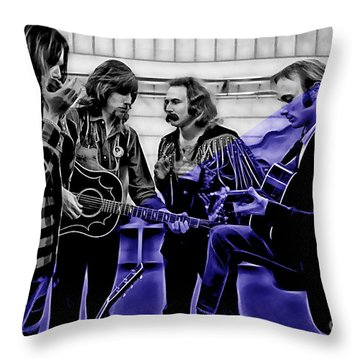 Crosby Stills Nash And Young Throw Pillow by Marvin Blaine