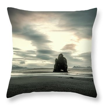 Dinosaur Rock Beach In Iceland Throw Pillow