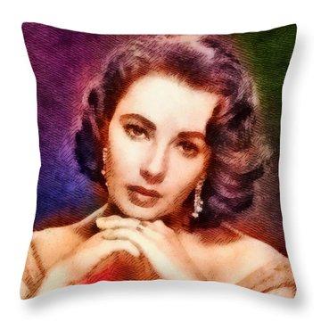 Elizabeth Taylor, Vintage Hollywood Legend Throw Pillow