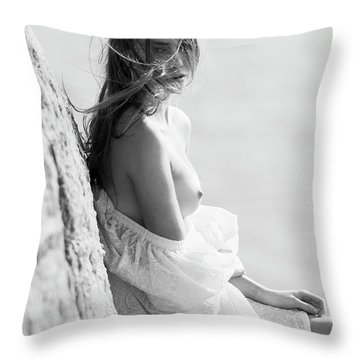 Girl In White Dress Throw Pillow