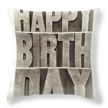Happy Birthday Greeting Card Throw Pillow