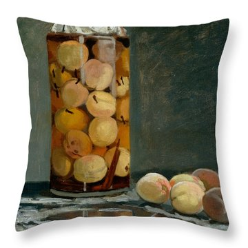 Jar Of Peaches Throw Pillow by Claude Monet