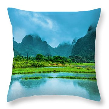 Throw Pillow featuring the photograph Karst Rural Scenery In Raining by Carl Ning
