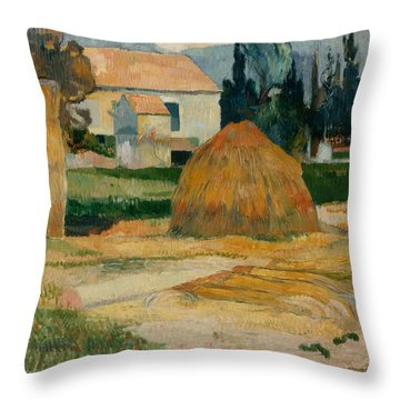 Landscape Near Arles  Throw Pillow