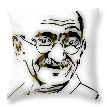 Mahatma Gandhi Collection Throw Pillow by Marvin Blaine