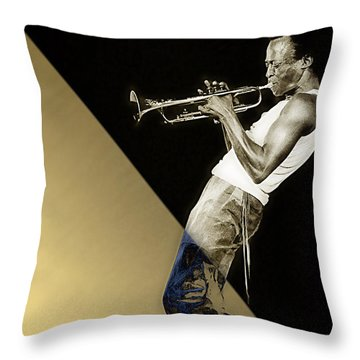 Miles Davis Collection Throw Pillow by Marvin Blaine