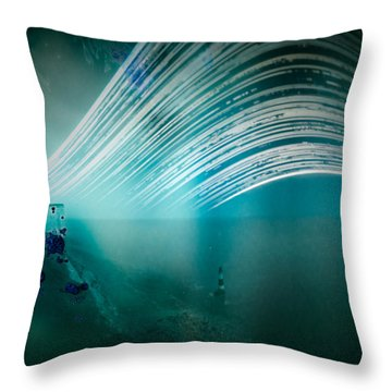 6 Month Exposure Overlooking The Beachy Head Lighthouse Throw Pillow