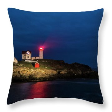 Nubble Lighthouse Throw Pillow by John Greim