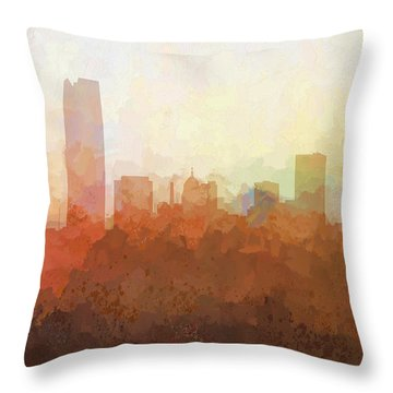 Throw Pillow featuring the digital art Oklahoma City Oklahoma Skyline by Marlene Watson