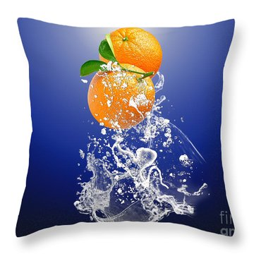 Throw Pillow featuring the mixed media Orange Splash by Marvin Blaine