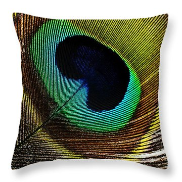 Peacock Feathers Throw Pillow by Mary Van de Ven - Printscapes