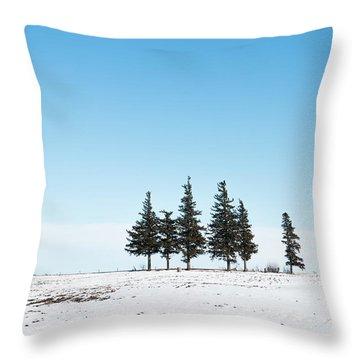 6 Pines And The Moon Throw Pillow