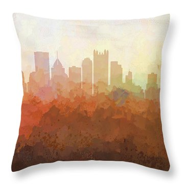 Throw Pillow featuring the digital art Pittsburgh Pennsylvania Skyline by Marlene Watson