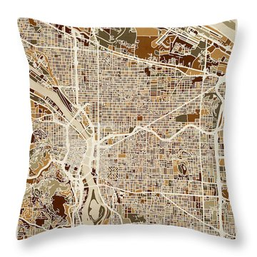 Throw Pillow featuring the digital art Portland Oregon City Map by Michael Tompsett