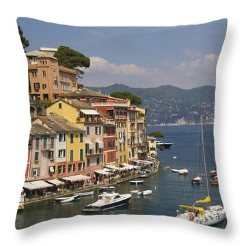 Portofino In The Italian Riviera In Liguria Italy Throw Pillow by David Smith