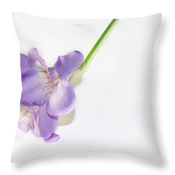 Purple Freesia Throw Pillow by Elvira Ladocki