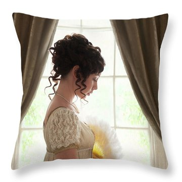 Regency Woman At The Window Throw Pillow